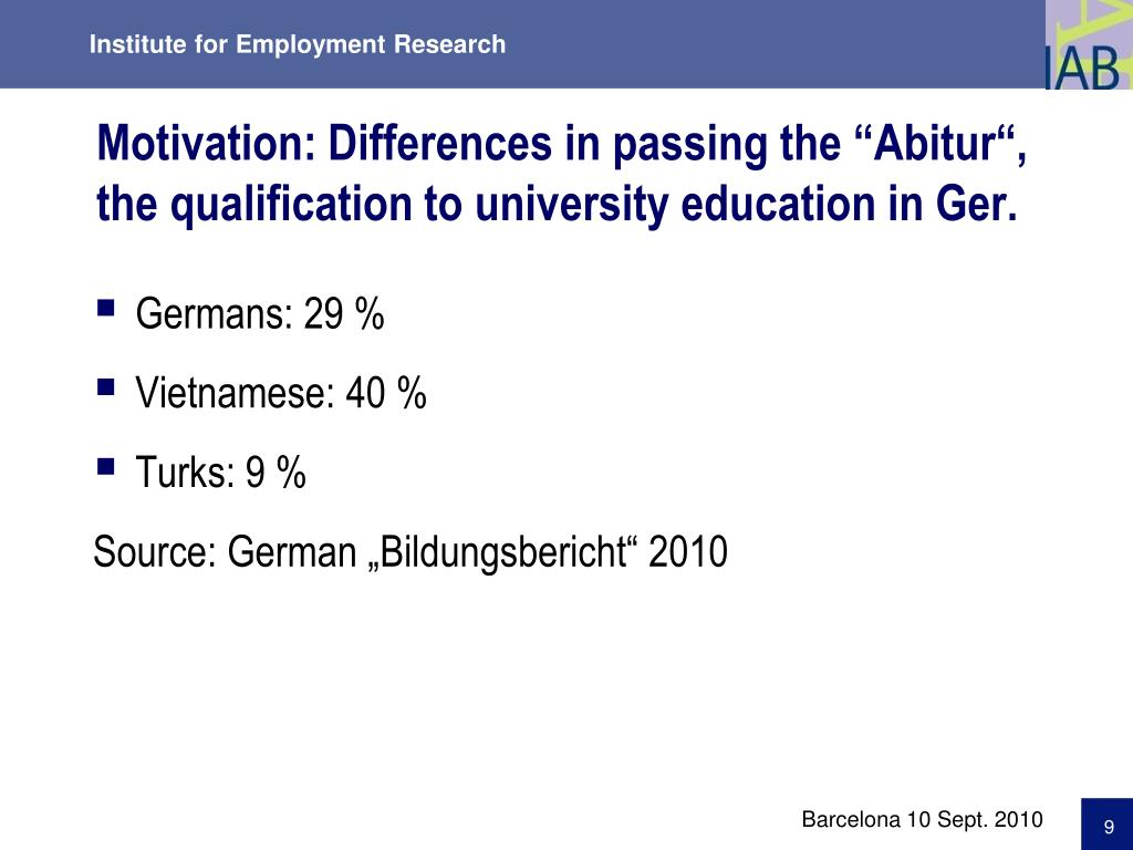 "Motivation: Differences in passing the ""Abitur"","
