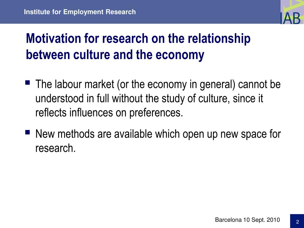 Motivation for research on the relationship between culture and the economy