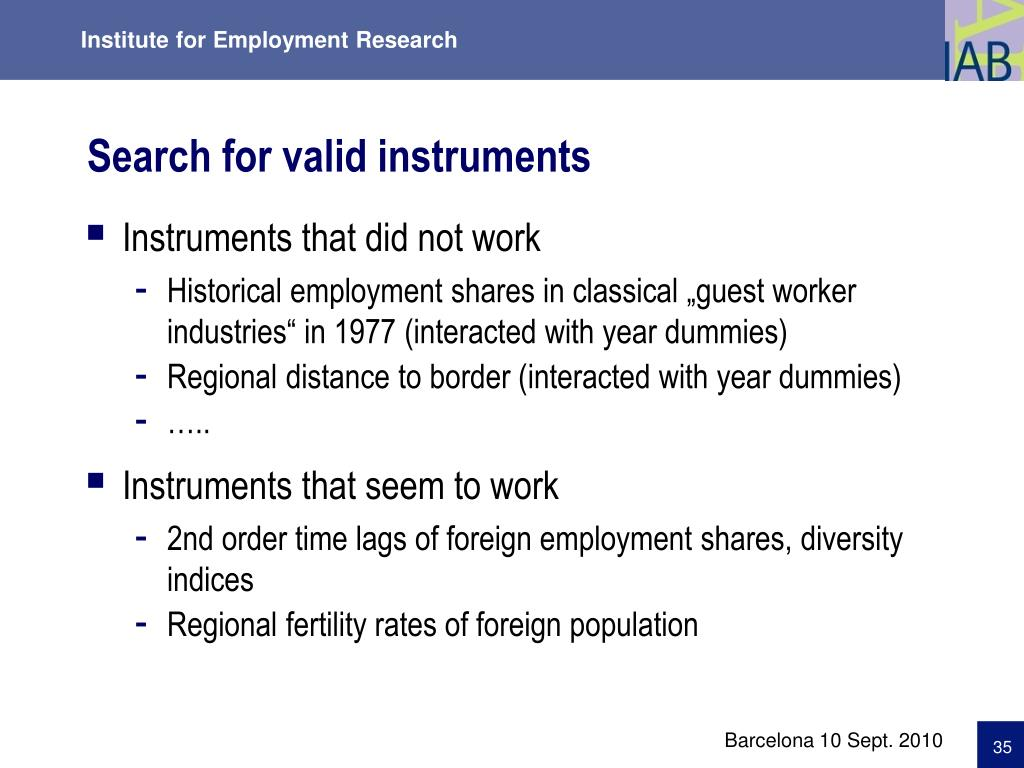 Search for valid instruments