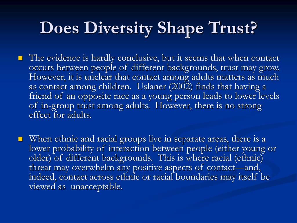Does Diversity Shape Trust?