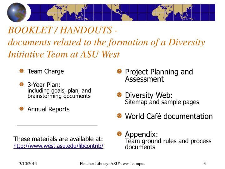 Booklet handouts documents related to the formation of a diversity initiative team at asu west