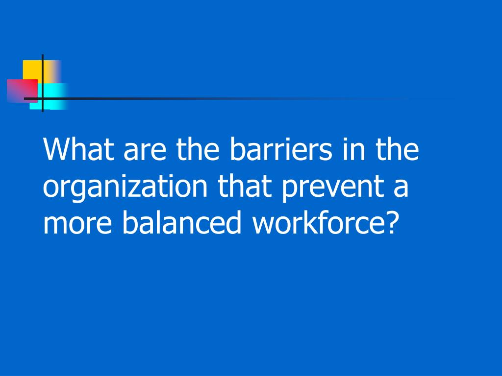 What are the barriers in the organization that prevent a more balanced workforce?