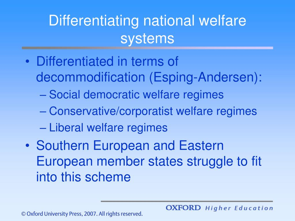 Differentiating national welfare systems