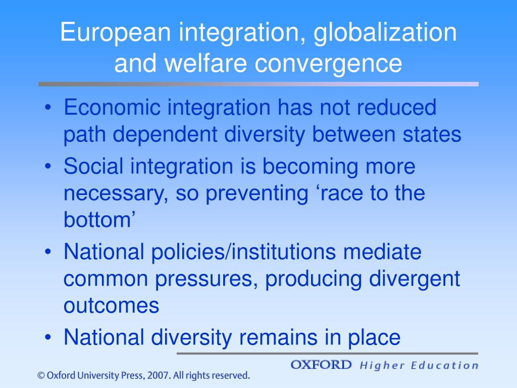 European integration, globalization and welfare convergence