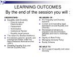 learning outcomes by the end of the session you will