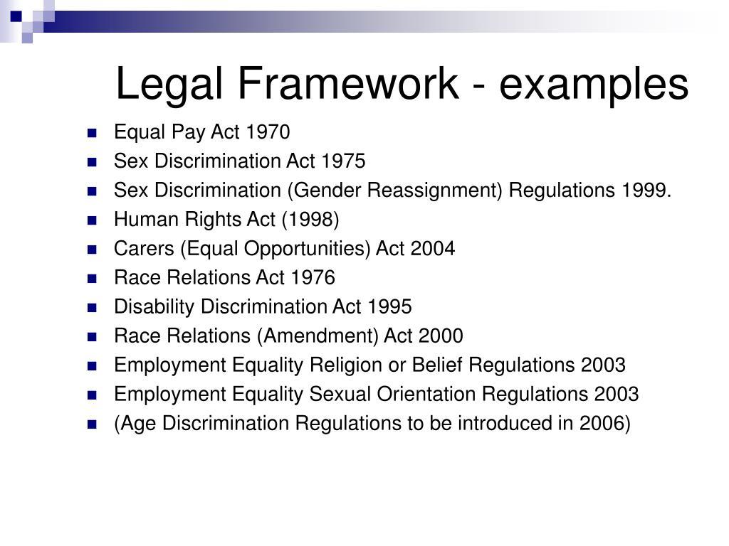 Legal Framework - examples