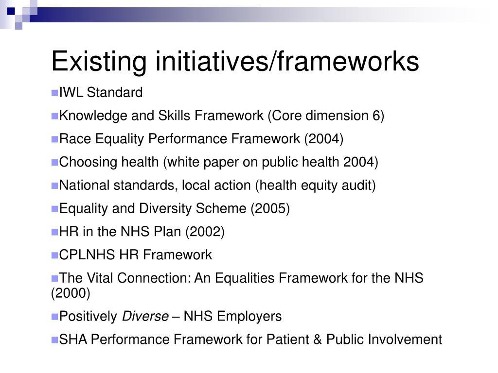 Existing initiatives/frameworks