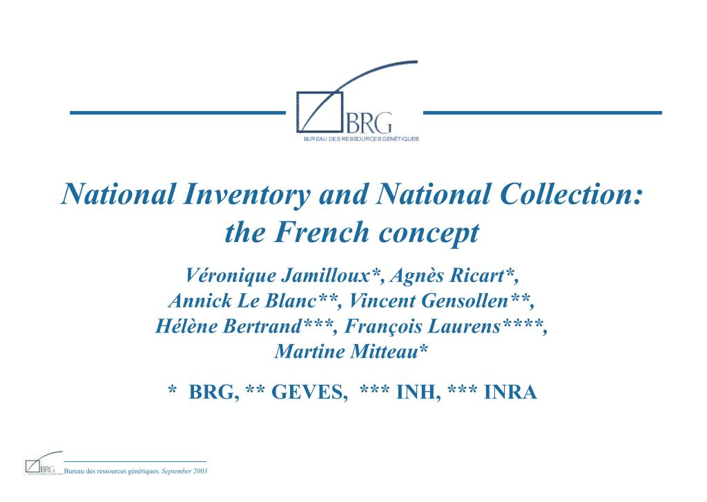 National Inventory and National Collection: the French concept