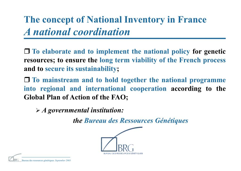 The concept of National Inventory in France