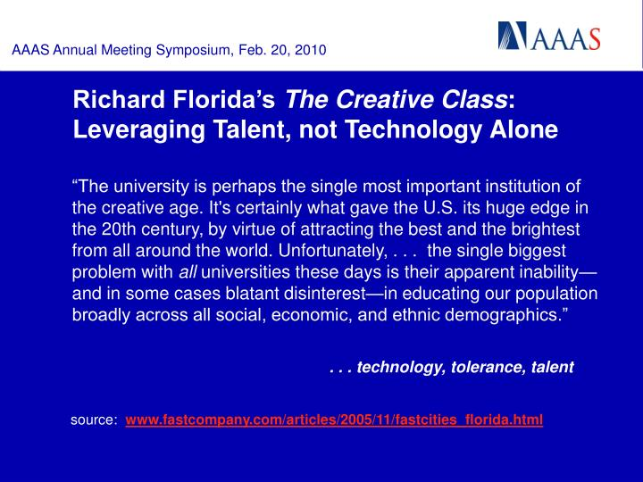 Richard florida s the creative class leveraging talent not technology alone