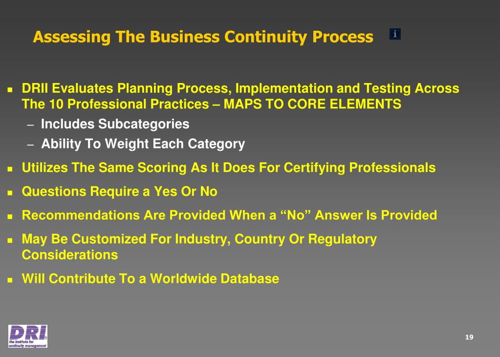 Assessing The Business Continuity Process