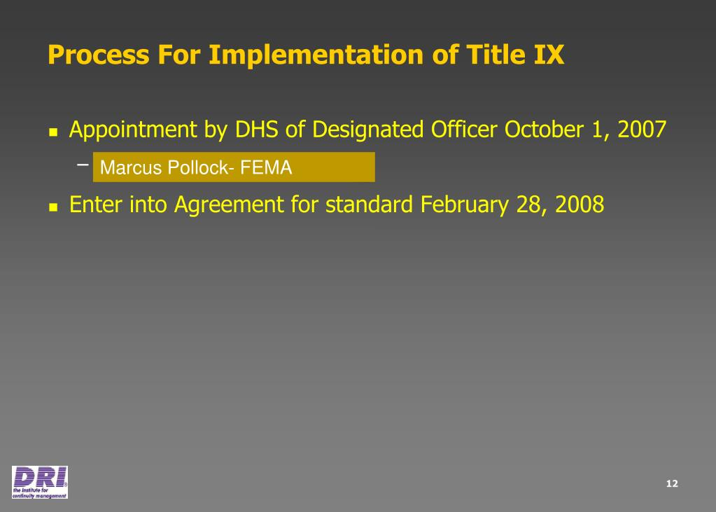 Process For Implementation of Title IX