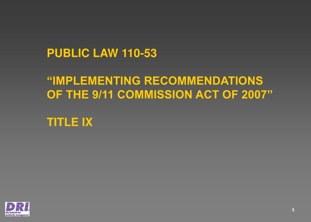 PUBLIC LAW 110-53