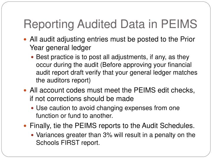 Reporting Audited Data in PEIMS