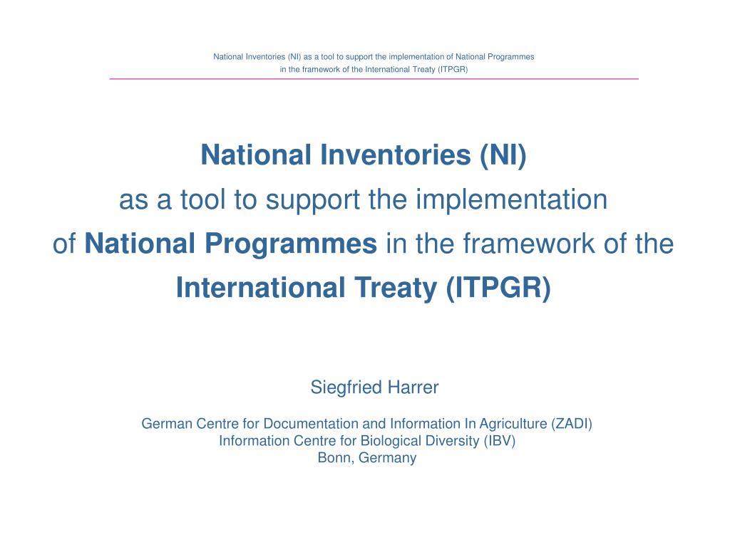 National Inventories (NI)