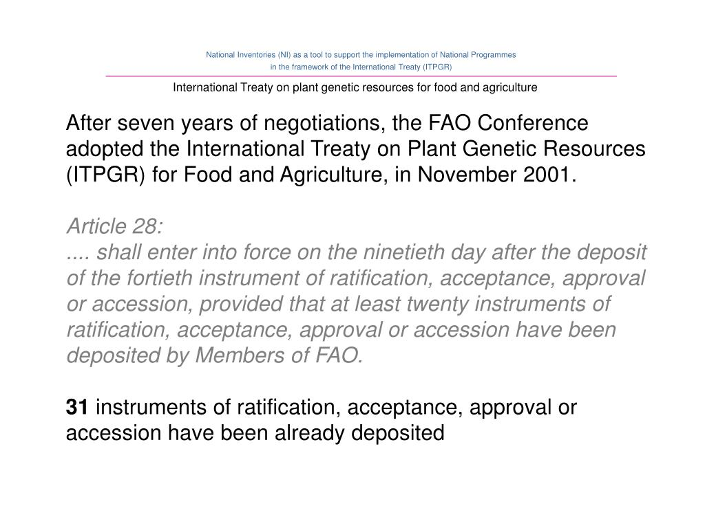 International Treaty on plant genetic resources for food and agriculture