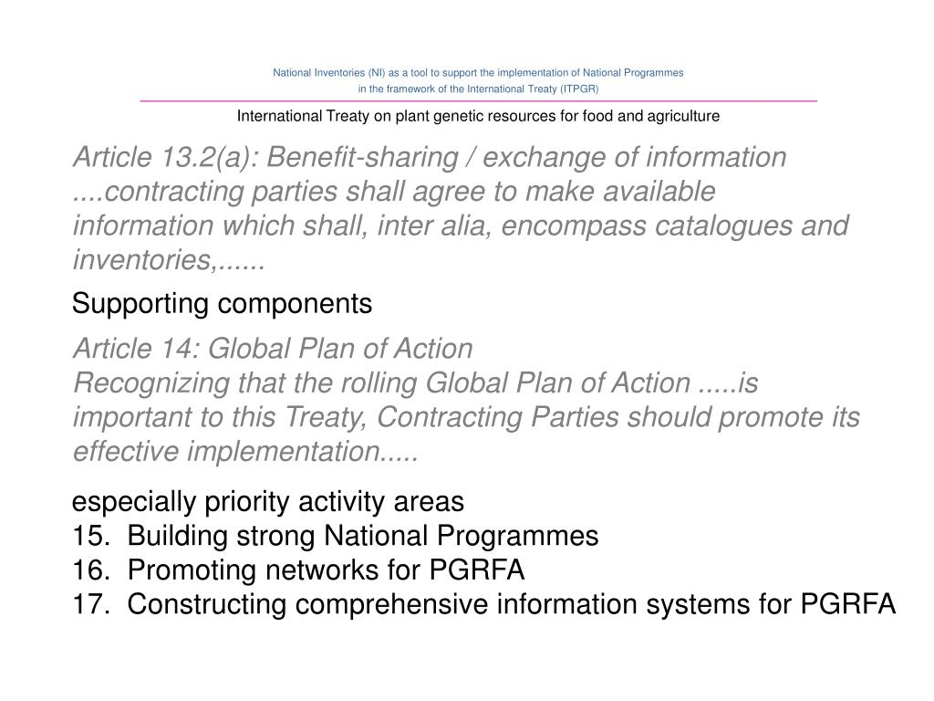 Article 13.2(a): Benefit-sharing / exchange of information