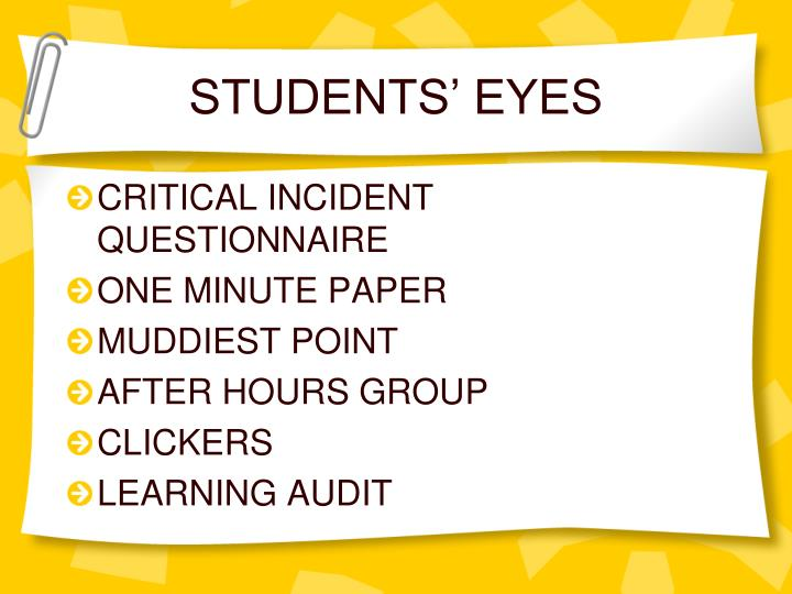 STUDENTS' EYES