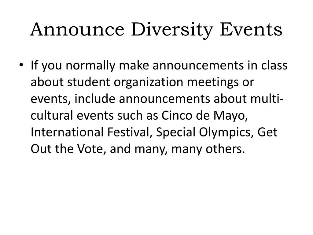 Announce Diversity Events