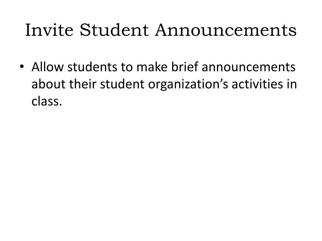 Invite Student Announcements