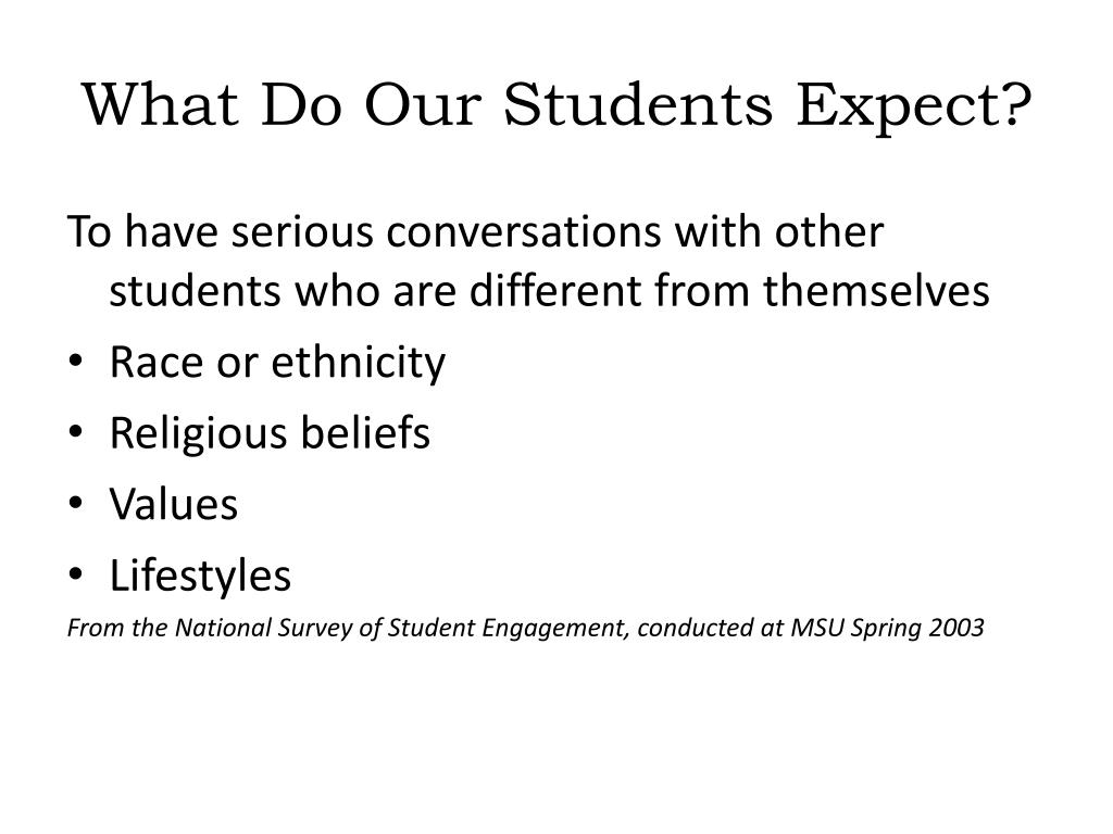 What Do Our Students Expect?