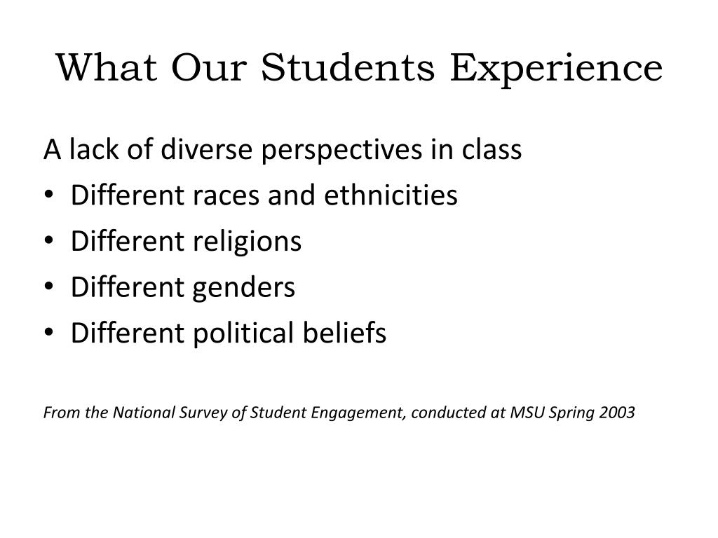 What Our Students Experience