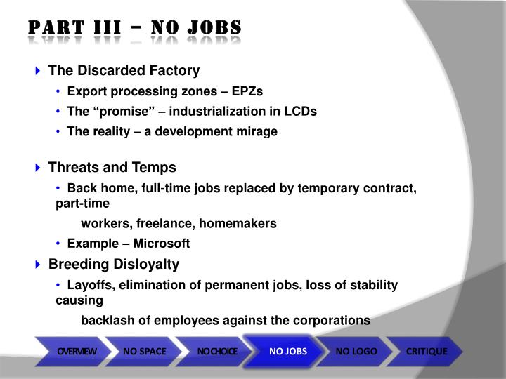 Part iii – no jobs