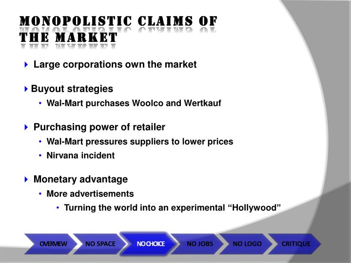 MONOPOLISTIC CLAIMS OF THE MARKET