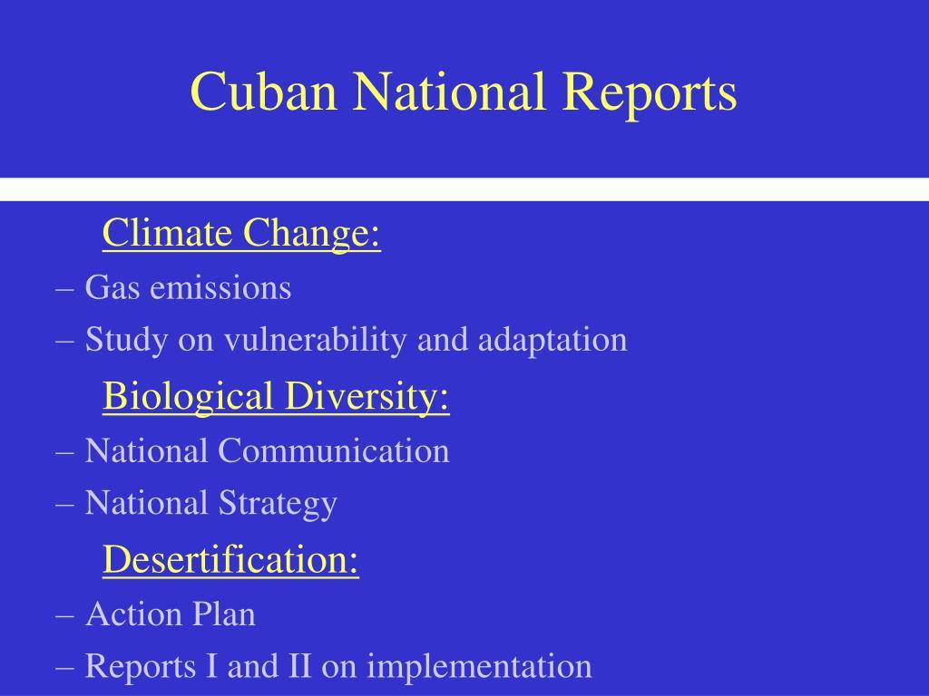 Cuban National Reports