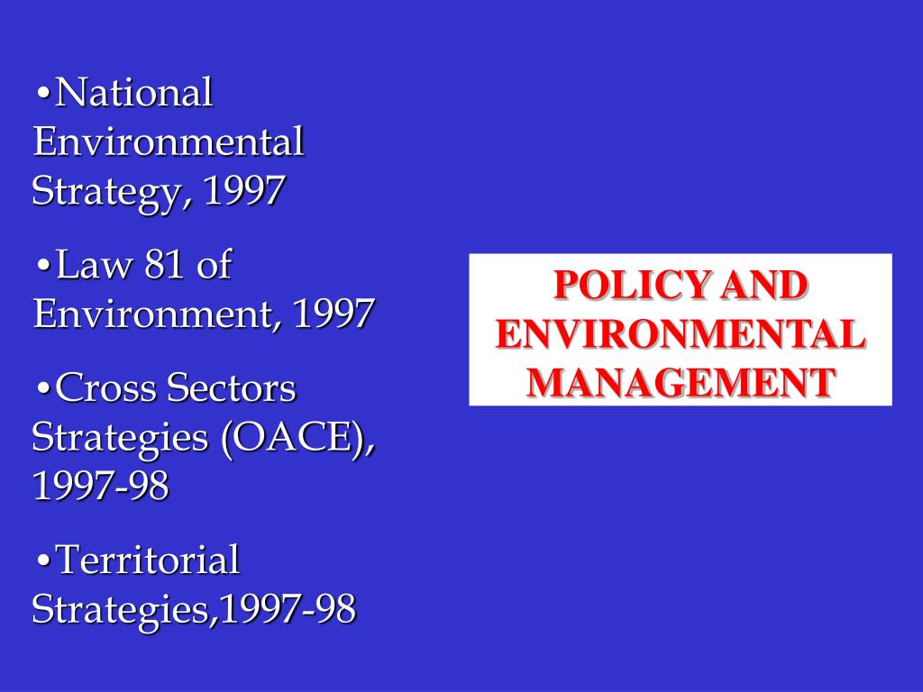 National Environmental Strategy, 1997