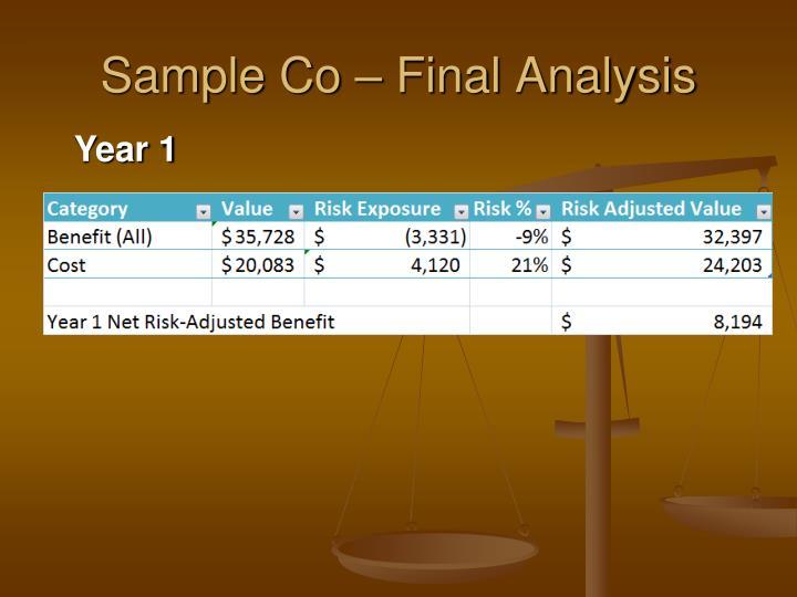 Sample Co – Final Analysis