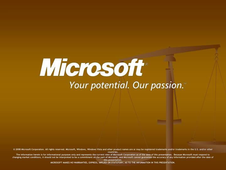 © 2008 Microsoft Corporation. All rights reserved. Microsoft, Windows, Windows Vista and other product names are or may be registered trademarks and/or trademarks in the U.S. and/or other countries.