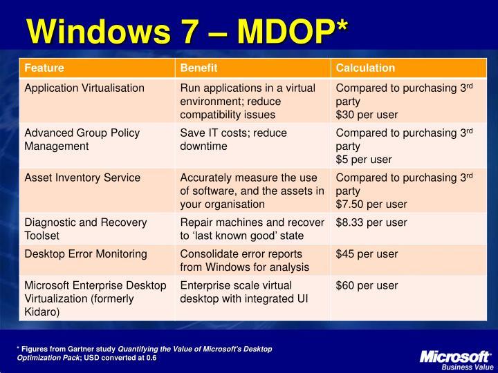 Windows 7 – MDOP*