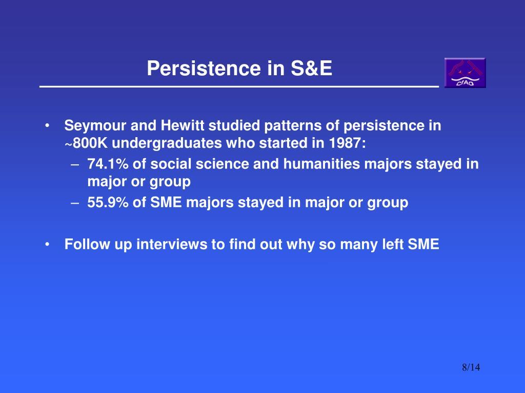 Persistence in S&E