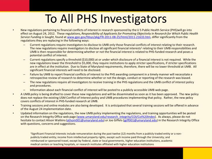 To all phs investigators