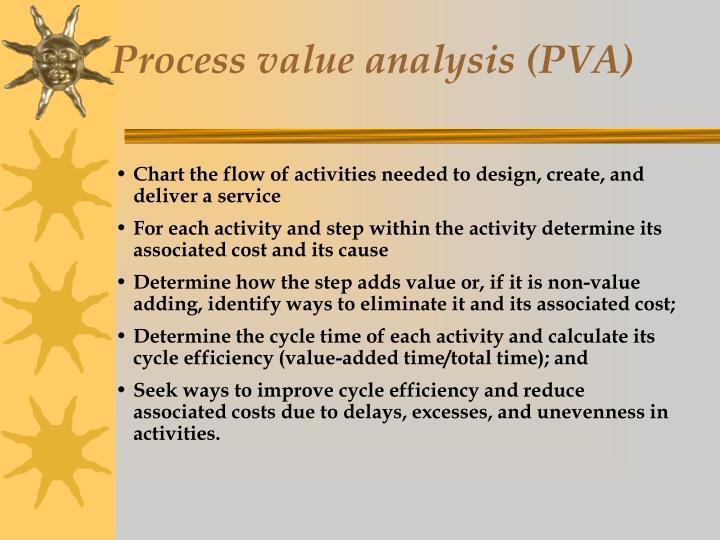 Process value analysis (PVA)