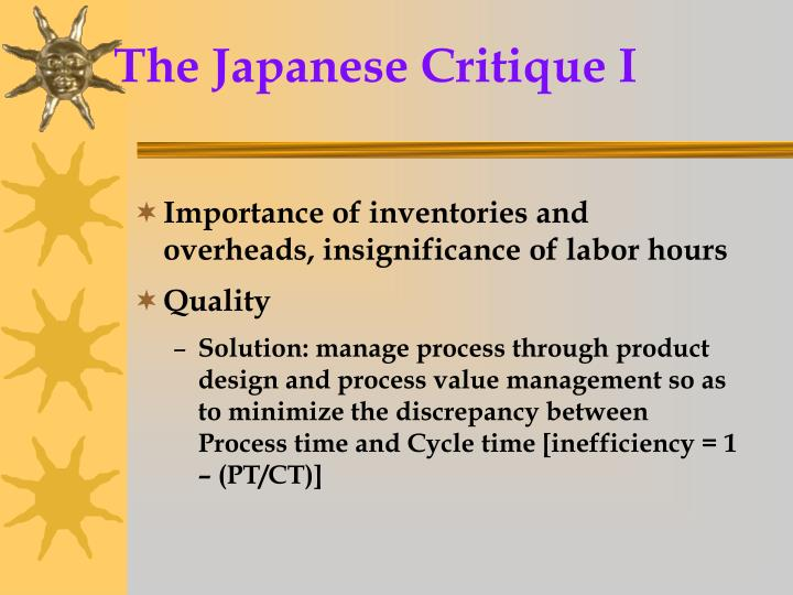 The Japanese Critique I