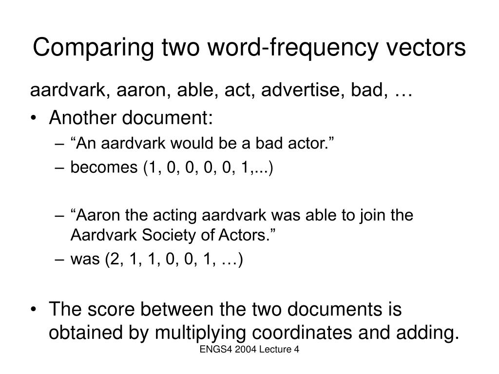 Comparing two word-frequency vectors