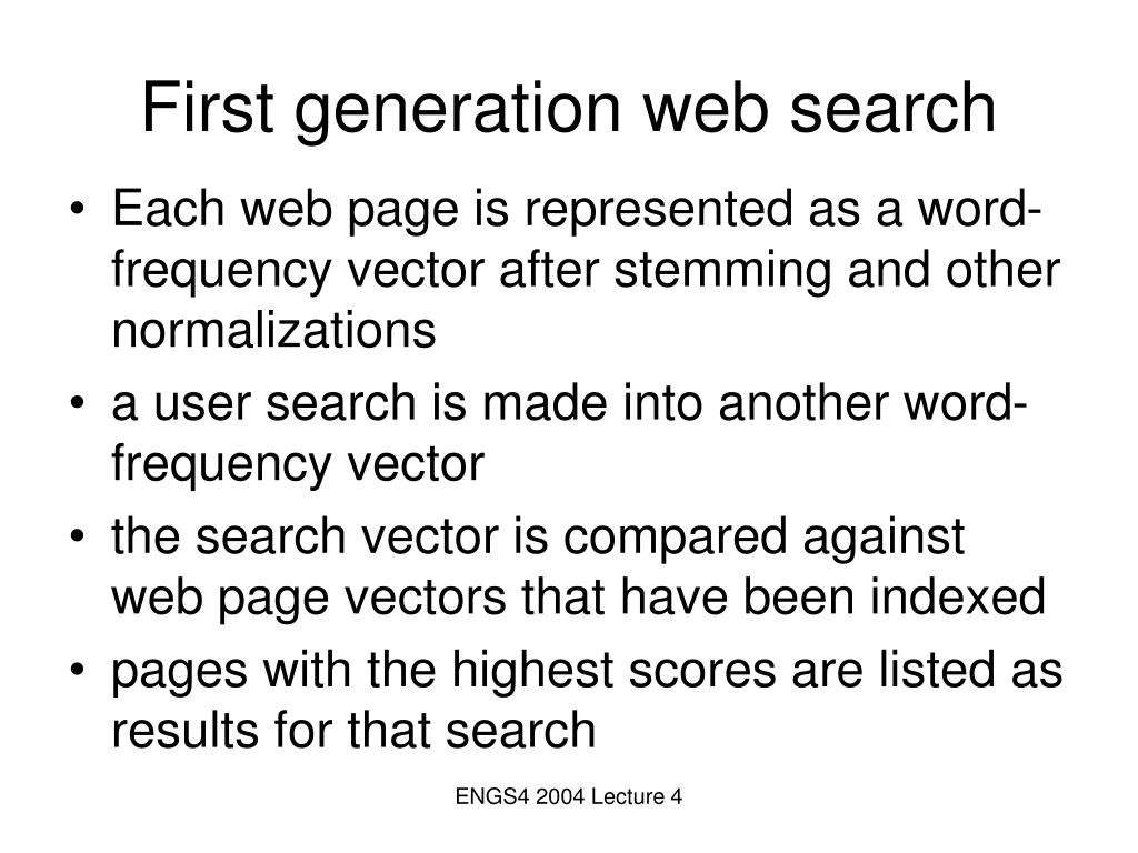 First generation web search