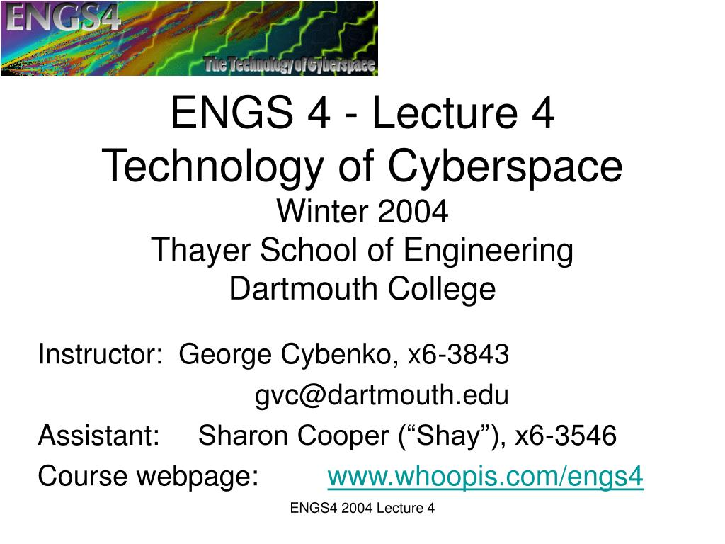 ENGS 4 - Lecture 4