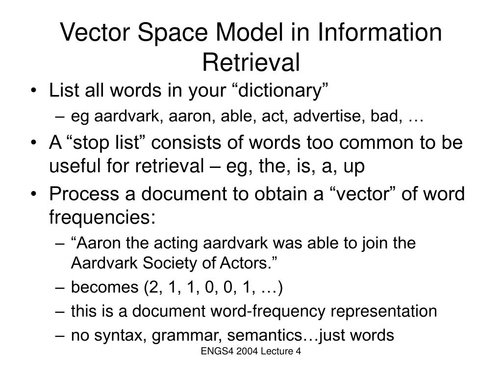 Vector Space Model in Information Retrieval