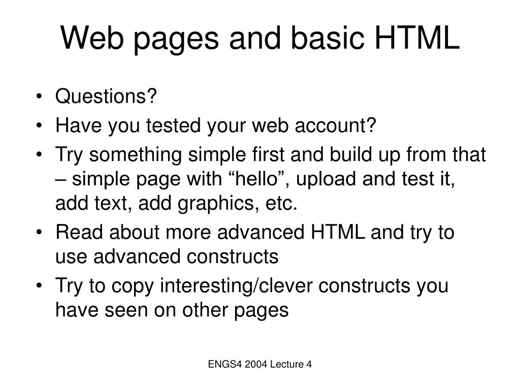 Web pages and basic HTML