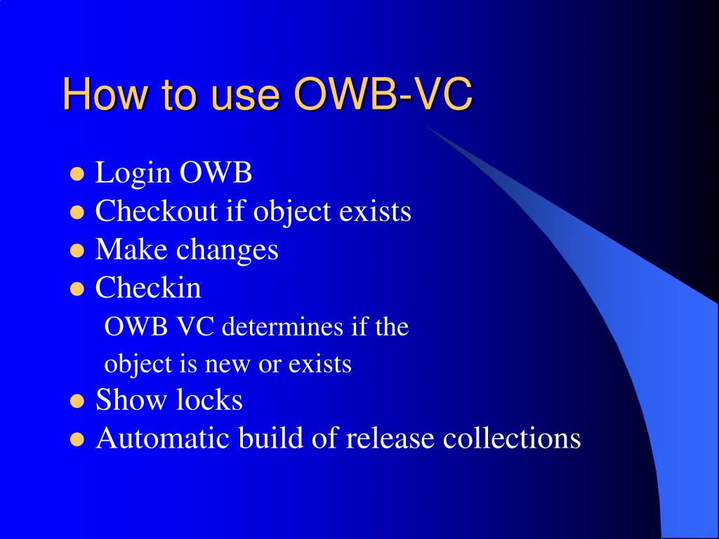 How to use OWB-VC