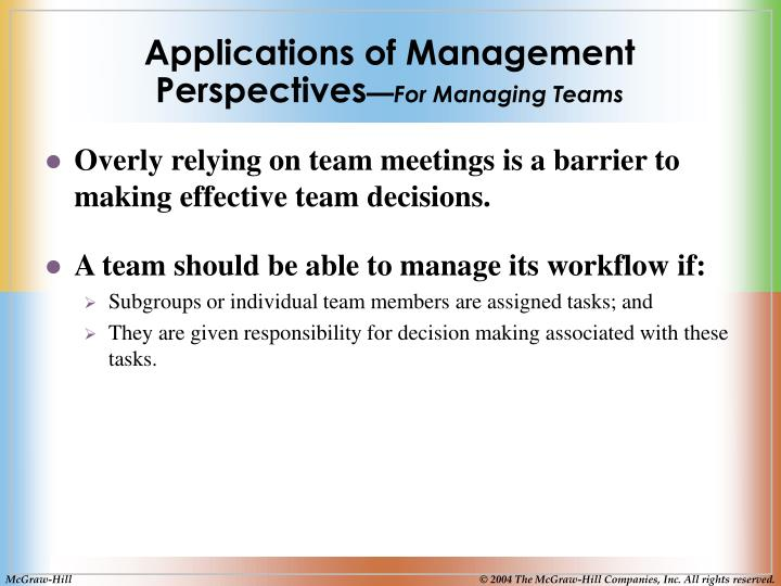 Applications of Management Perspectives