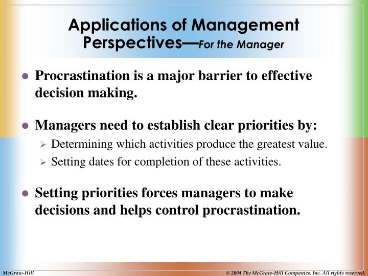 Applications of Management Perspectives—