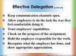 effective delegation continued