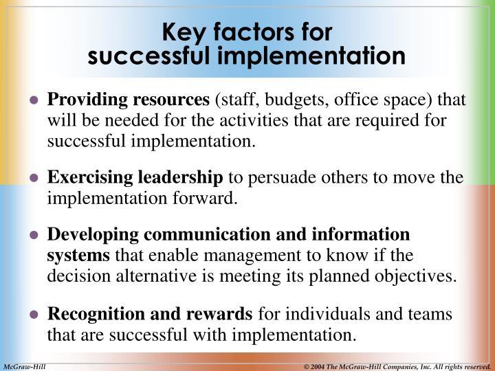 Key factors for