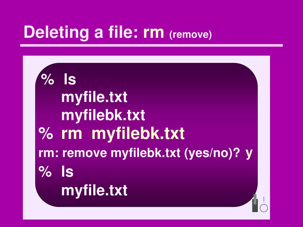 Deleting a file:
