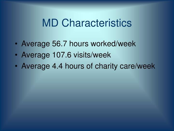 MD Characteristics