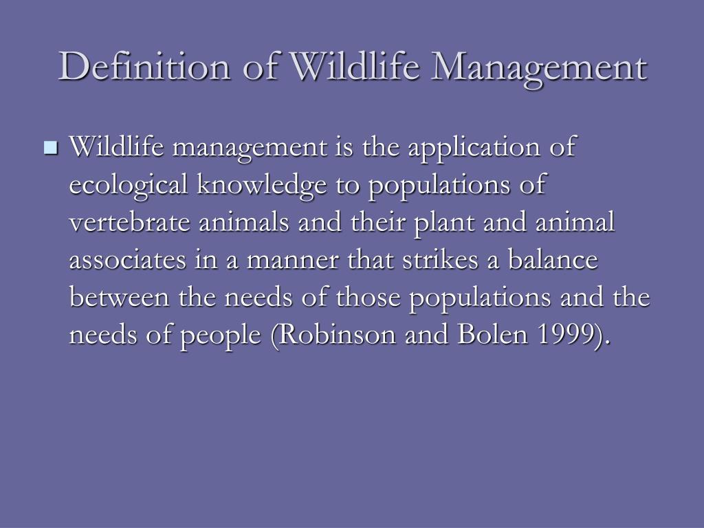 Definition of Wildlife Management
